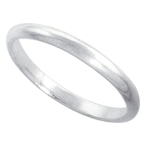 Revoni Sterling Silver 2 mm Thin High Dome Wedding Band Thumb Ring Toe, size F