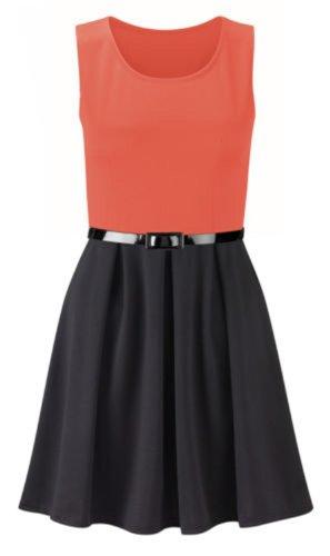neuen Frauen plus size Farbe Block gedruckt Gürtel ausgestelltem Rock Kleid skater Coral/Black
