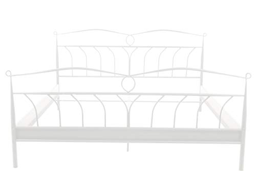 AC Design Furniture Bett Lis, B: 208 x T:146 x H: 105 cm, Metall, Weiss