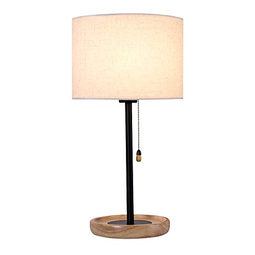 Henley - Lámpara de mesa de madera con interruptor, lámpara de ...