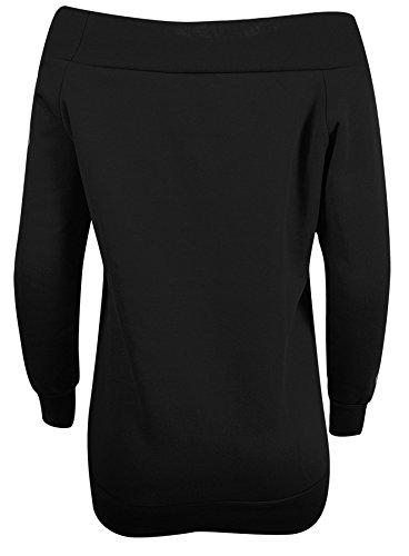 Manches longues pour femmes Off épaule Femmes en molleton Sweatshirt Noir