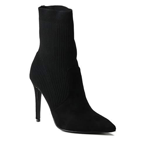 HERIXO Damen Schuhe Stiefeletten Highheel Pumps elastischer eng anliegender Socken-Boot Sock Schlupfstiefelette dünner Stift-Absatz Wildlederimitat (38 EU, Black) Buffalo Jeans-rock