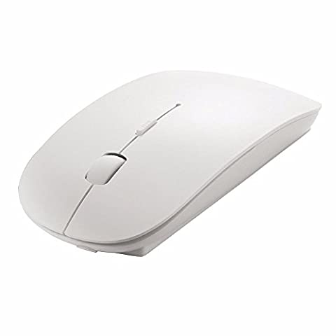 NEW Stylish Mobile Optical Wireless Slim Mouse 2.4 Ghz 1200 DPI Wi-Fi Mice Tablet, PC, Ultrabook, Laptop and Mac by Trimming Shop (White)