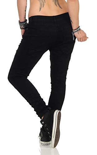 Fashion4Young 11424 Damen Jeans Röhrenjeans Hose Boyfriend Baggy Haremscut Damenjeans Slim-Fit (Schwarz14, XS-34) -