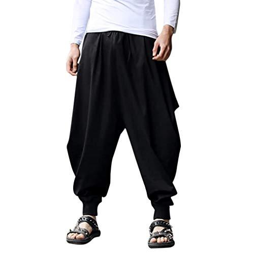 TEBAISE Haremshose Männer Aladinhose Herren Haremshose Herren Pumphose Damen Unisex als Goa Hose und Hippie Hose Stampfgewand(Schwarz,S)