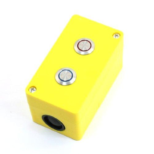 Aexit 3A 250VAC Momentary SPDT Rot Blau Pilot Lampe Dual Metall Taste Steuern Kasten