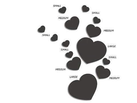 JCM Amour Stickers muraux en forme de cœur Medium, Charbon de bois (4x 90mm)