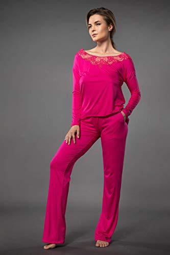 Millesime Lingerie TOP Shirt Damen Bluse Damen Pullover Sexy Top Sexy Oberteile Top mit Spitze Home Schlafanzug Damen Nachtwäsche Große Größe Sexy Frauen Pyjama Damen Plus Size Top Spitze Homewear (Rosa Langarm-pyjamas)