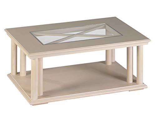 Couchtisch Wohnzimmer-Tisch Allegro mit Glasplatte 110 x 75 cm, Pinie massiv Farbe Pinie weiß gekälkt