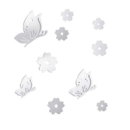 Sanahy Wandaufkleber Schmetterling Blumen Acryl Spiegel wasserdicht Selbstklebend Wanddekoration Hausdekoration