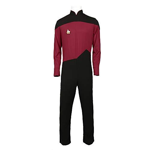 Trek Jumpsuit Kostüm Star - KOUYNHK Star Trek TNG Cosplay Kostüm Junge, Halloween Spandex Body Kostüm Weihnachten Geburtstag Sport Hohe Elastische Strumpfhosen,Red-XXXL