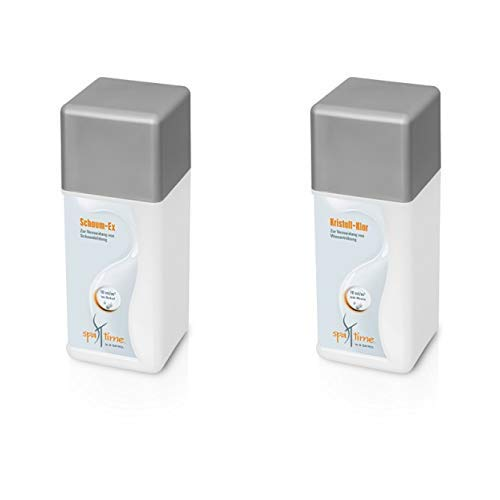SpaTime by BAYROL - Schaum-Ex 1,0 L - Entschäumer für Spa/Whirlpool, entfernt unansehnlichen Schaum & by BAYROL - Kristall Klar 1L - für alle Filterarten