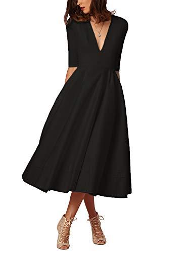 Damen sexy v-Ausschnitt Partykleid Abendkleider Cocktailkleid Elegant 1/2 arm Casual klassischer Stil Kleid lang,S-3XL, Schwarz, L