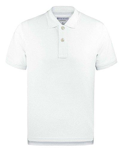 Mens 100% Baumwolle Einfarbig Pique Polohemd Kurzärmeliges T-Shirt Sommer Top Weiß