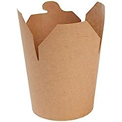 BIOZOYG 50x Caja Comida asiática | envase cartón | cartón Kraft marrón | 650ml | Tapa Plegable | Revestimiento ecológico | compostable según DIN 13432 | reciclable | sin químicos | sin petróleo