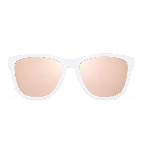 JIM HALO Retro Polarisiert Sonnenbrille für Damen Herren Vintage Platz Spiegel Gläser(Weißer Rahmen/Spiegel Rosa Linse)