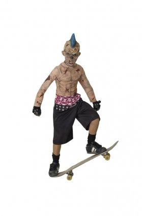 Scary Kostüme (Jungen Zombie Skate Punk Rubies Kinder Halloween Fancy Dress Kostüm Taglia-M 5-7)