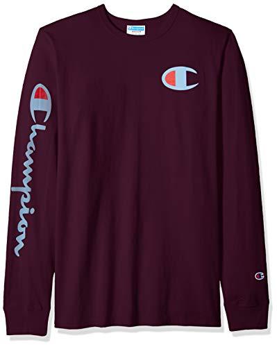 Long Sleeve Graphic Tee (Champion Life Herren Heritage Long Sleeve Tee T-Shirt, Venetian Purple W/Big C Graphic, Groß)