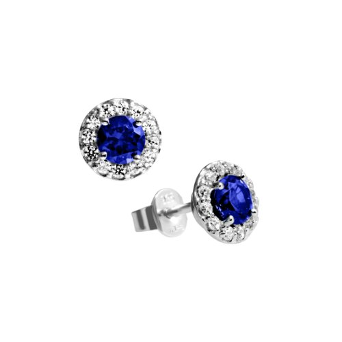 Diamonfire Damen-Ohrstecker 925 Sterling Silber Zirkonia Royal Colours Linie blau 62/1558/1/089 -