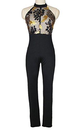 Smile YKK Jumpsuit Femme Soirée Paillette Combinaison Pantalon Sans Manche Epaule Dos Nu Eté Multicolore