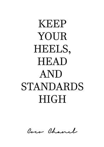 aw-photograph Poster Zitat Coco Chanel Keep Your Heels, Dekoration für Haus, Verschiedene Größen erhältlich (50 x 70 cm)