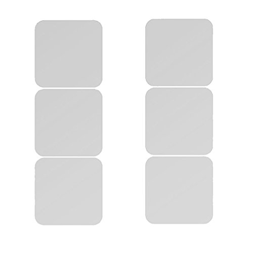 SM SunniMix 6 Stücke Abnehmbare Spiegeleffekt Acryl Wandaufkleber Aufkleber Room Decor - 20x20cm Silber - Erweitern Bad-spiegel