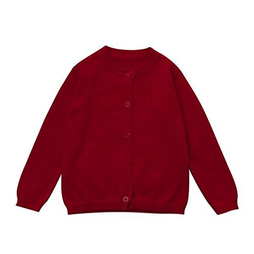 zycShang Petit Gamin GarçOns Filles VêTements De Bonneterie Solide Au Pull Cardigan Manteau Coloré (Rouge, 3T)