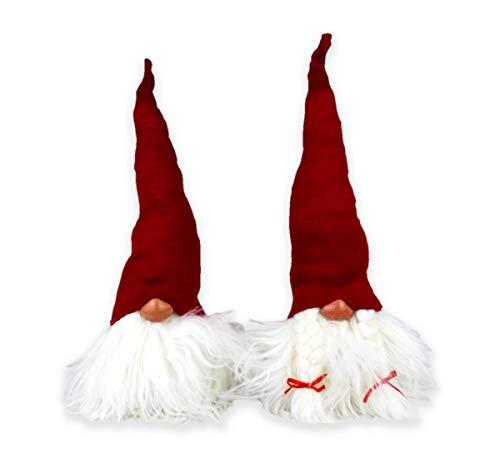 Coppia gnomi di natale in stoffa altezza 42 cm babbi rossi