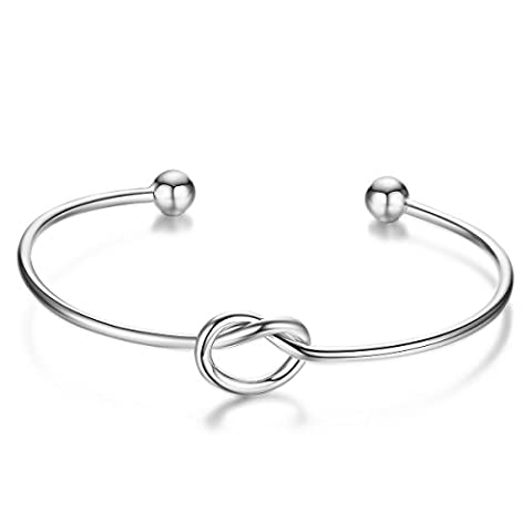 Sweetiee 925 Sterling Silver Bangle Bracelet with Knot Findings 172mm Adjustable for Girls