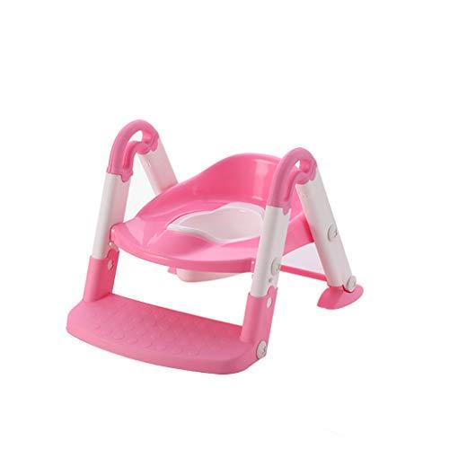 ZLMI Kinder-Toilette Sitz Toilette Falten Toilette Sitz Baby Potty Große Männliche Und Weibliche Kinder-Toilette Leiter Tragbar Leicht Zu Reinigen 1-8 Jahre Alt,Pink
