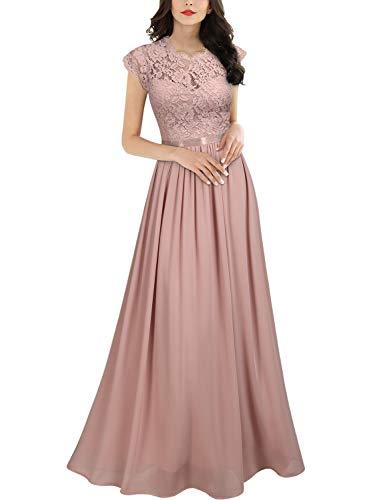 Miusol Robe de Soirée Femmes Élégant Plissée Mousseline Longue Robe de marié Rose XL