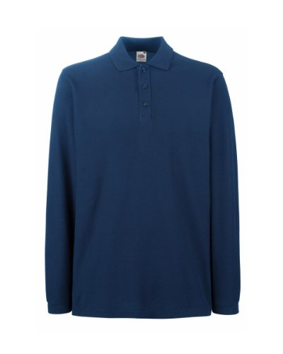 fruit-of-the-loom-polo-manica-lunga-uomo-l-blu-navy