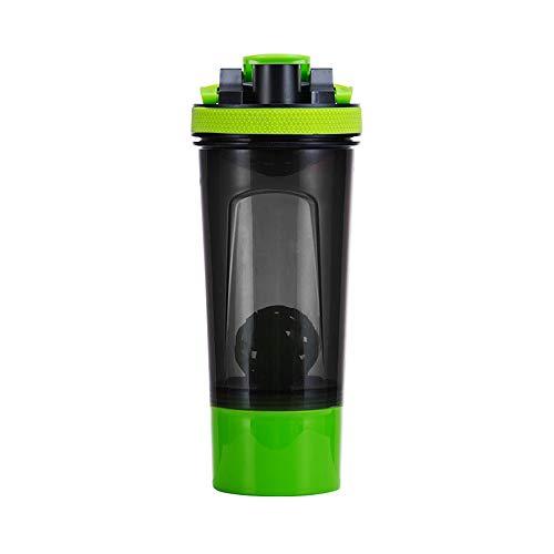 Shaker Proteinshake Bottle, Mit Zwei Vorratsbehältern Und Tablettenschale, BPA-Freiem Und Auslaufsicherem, Tragbarem Und Haltbarem Fitness-Wasser-Shake-Fläschchen, 700 Ml Protein-Shaker,Green