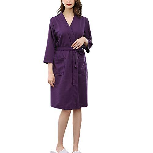 Rojeam Leichte Kimono Waffle Robe für Damen Unisex Spa Bademantel Nachtwäsche