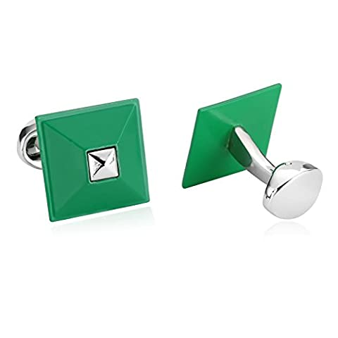 AMDXD Jewelry Stainless Steel Cufflinks for Men Rhombic Squre Silver Green Cuff Links 1.8X1.8CM
