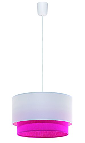 Moderne Pendelleuchte (E27, modern, Junges Wohnen, in Weiß, Pink, Doppelschirm, Zylinder) Küchenlampe Innenleuchte Hängeleuchte...