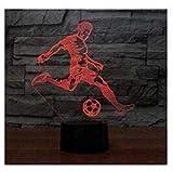 3D fußballspieler Optische Illusions-Lampen, Tolle 7 Farbwechsel Acryl berühren Tabelle Schreibtisch-Nachtlicht mit US