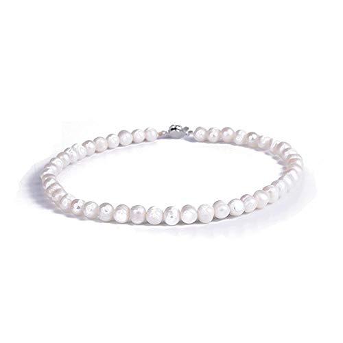 Lnyy Natürliche Süßwasser Perle Halskette Classic White Pearl Schlüsselbein Kette einfach Elegante Perlenkette