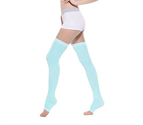 Swallowuk 1 Par Mujeres Medias de Compresión Adelgazantes de Los Calcetines Yoga del Sueño Durante la Noche Hasta el Muslo de Las Polainas Calcetines Dormir Calcetines (Verde)