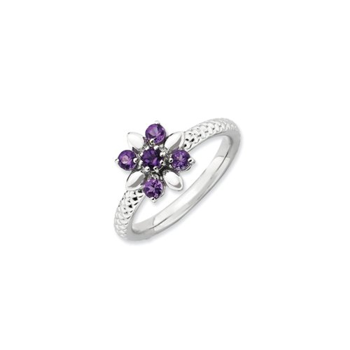 Black Bow Jewellery Company : Sterling Silver & Amethyst Stackable 5 Round Stone Flower Ring