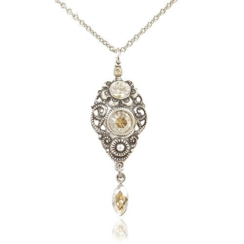 nobel-schmuck Jugendstil Kette mit Kristallen von Swarovski Silber Golden Shadow