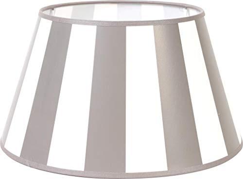 Lampenschirm-rund-konische-Form-grau-weiß- gestreift Ø 20 cm Landhaus-vintage-Stil