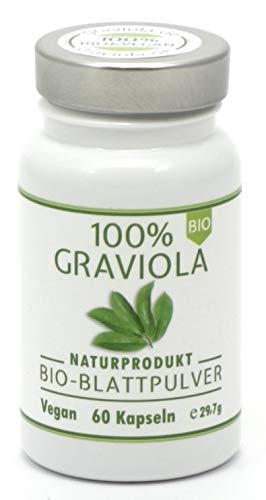 100% BIO GRAVIOLA Blattpulver Kapseln, 60 Kapseln, BIO & VEGAN. Stachelannone, Soursop, Corossol, Guanabana.