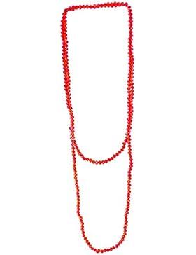 budawi® - Halskette aus Acryl Perlen facettiert Länge ca. 100 cm, Glitzerhalskette rot mit Stretch-Nylonfaden