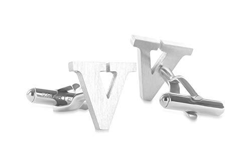 SMARTEON® Manschettenknöpfe für Herren | Premium Buchstaben A-Z | Silber & Schwarz aus hochwertigem Edelstahl in mattem Design | Elegante Cufflinks in einem edlen Geschenk-Set (V - silber)