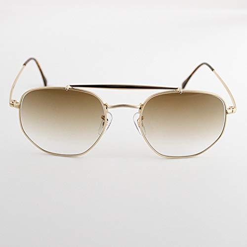 sijiaqi Hexagonal Sonnenbrille Frauen Männer 54 Mm Glaslinse Spiegel Schwarz Runde Sonnenbrille Oculos De Sol Gafas,Gradient Gray