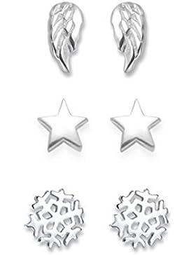Sterling Silber Engel Flügel Ohrringe Set: Engel Flügel Ohrringe, Ohrringe Stern und Schneeflocke Ohrringe. Weihnachten...