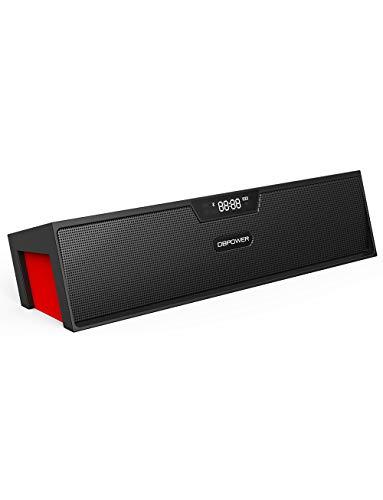 DBPOWER Bluetooth Lautsprecher, Dual Treiber Bass 3D-Stereo Kabelloser Lautsprecher LED Anzeige FM Radio Tragbarer Mini Lautsprecher Mit Wecker und Freisprechfunktion für iPhone, Samsung usw (Rot)