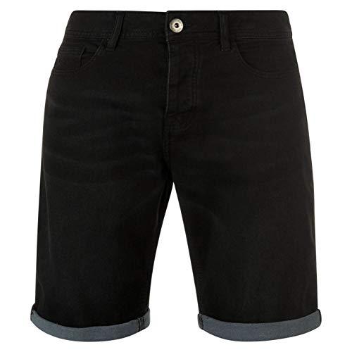 Firetrap Herren Stretch Denim Shorts 5 Taschen Design Schwarz L