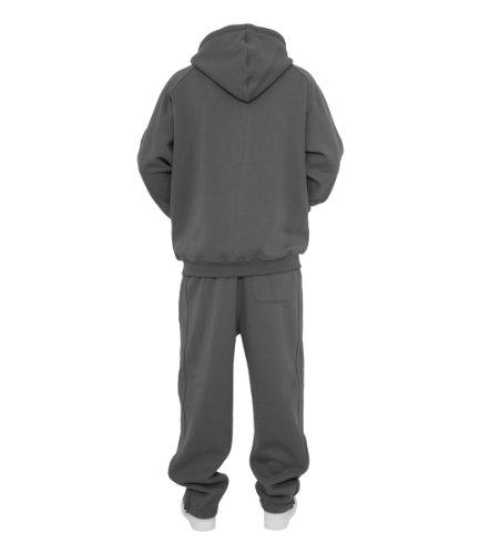 Urban Classics TB001 Blank Suit Urban Fit Tuta Uomo Felpa Zip Cappuccio Pantalone Grigio scuro